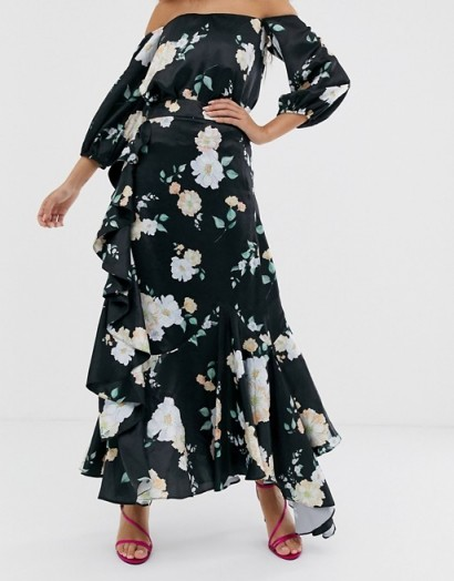 We Are Kindred Clover ruffle floral midaxi skirt in black camellia