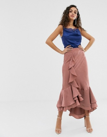 We Are Kindred Frenchie bias cut ruffle midi skirt in blush