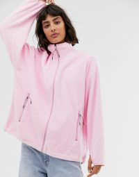 Weekday micro fleece jacket in bubble pink ~ relaxed fit funnel neck fleeces