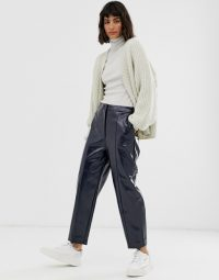 Weekday patent trousers in navy / blue shiny pants