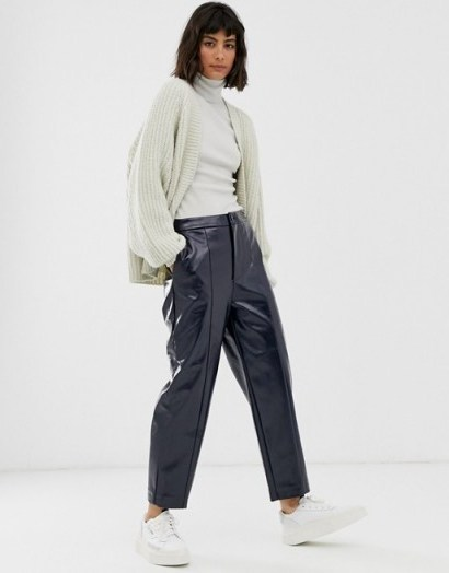 Weekday patent trousers in navy / blue shiny pants - flipped