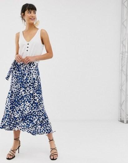 Whistles brushed leopard print wrap midi skirt in blue - flipped