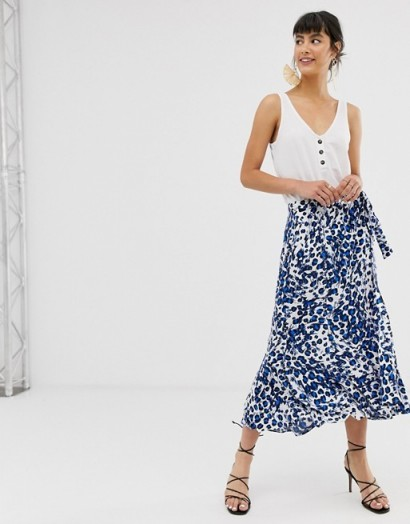 Whistles brushed leopard print wrap midi skirt in blue
