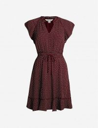 WHISTLES Jazmin gathered-waist spotted crepe dress plum / claret