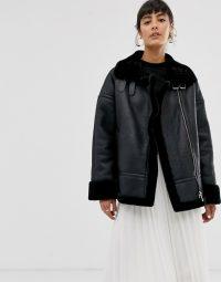 Whistles ultimate faux fur biker jacket in black