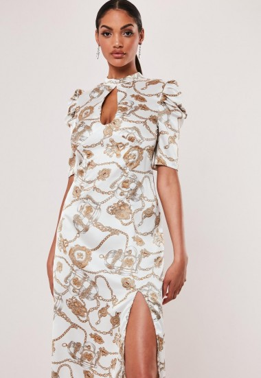 MISSGUIDED white chain print a-line midi dress ~ high neck keyhole cut-out dresses