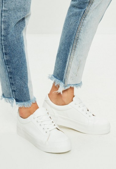MISSGUIDED white faux leather flatform trainers