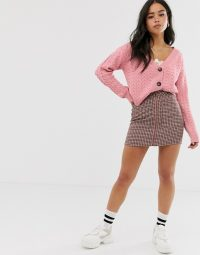 Wild Honey chunky knit cardigan in pink cable