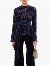 GALVAN Winter Jungle belted devoré-velvet top in navy ~ chic evening tops