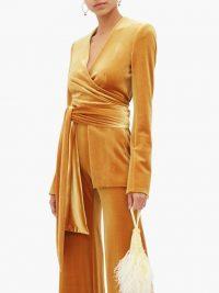 GALVAN Winter Sun velvet wrap jacket in rust-yellow