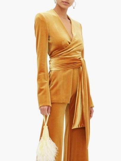 GALVAN Winter Sun velvet wrap jacket in rust-yellow - flipped