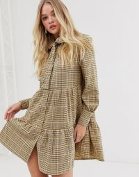 Y.A.S check midi dress with grandad collar in sunflower