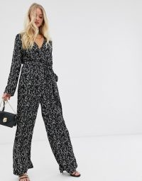 Y.A.S floral wrap jumpsuit in black