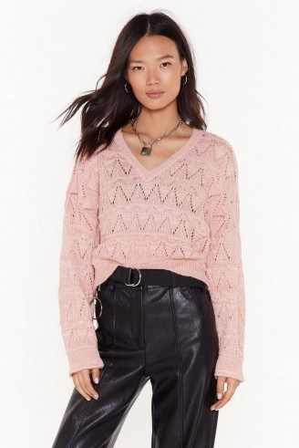 NASTY GAL You Didn't V Knit Coming Pointelle Cropped Jumper in Baby-Pink ~ dropped sleeve V-neck - flipped