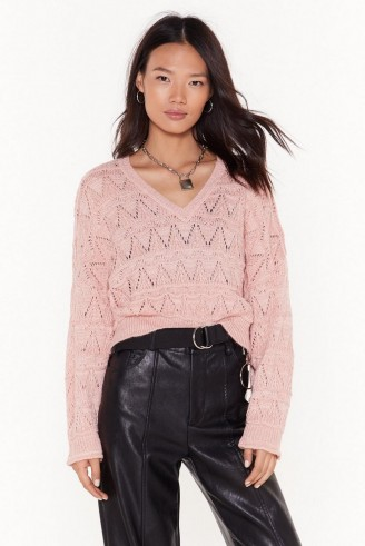 NASTY GAL You Didn't V Knit Coming Pointelle Cropped Jumper in Baby-Pink ~ dropped sleeve V-neck