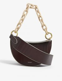 YUZEFI Doris leather shoulder bag in herringbone – chunky chain bags