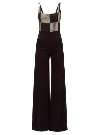 GALVAN Ziggy checkerboard-bodice wide-leg satin jumpsuit in black