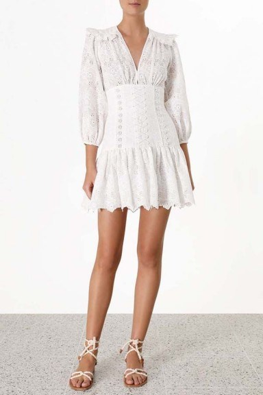 Zimmermann Honour Corset Lace Short Dress - flipped