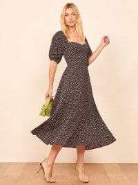 REFORMATION Zippy Dress in Confetti / spot print fit and flare