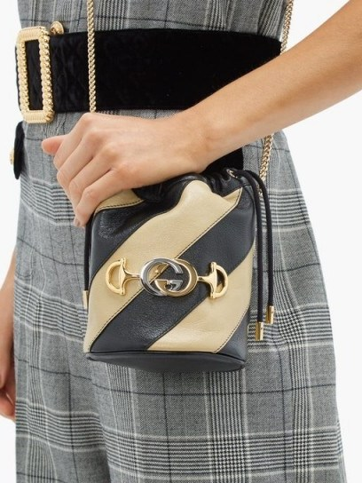 GUCCI Zumi Marmont black and beige striped leather bucket bag - flipped