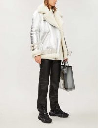 ACNE STUDIOS Velocite slim-fit shearling and leather jacket in silver / shiny winter jackets