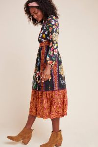 ANTHROPOLOGIE Adair Velvet-Trimmed Midi Dress Black Motif / multi print fashion