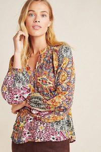 Kachel Ambrosia Peasant Blouse / mixed print blouses