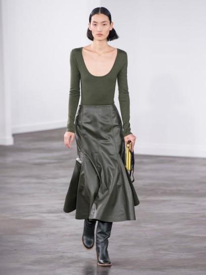GABRIELA HEARST Amy fluted leather midi skirt in khaki-green