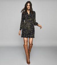 REISS ARABELLA SPOT PRINTED MINI DRESS BLACK