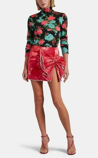 AREA Crystal-Embellished Red Tie-Dyed Lamé Miniskirt