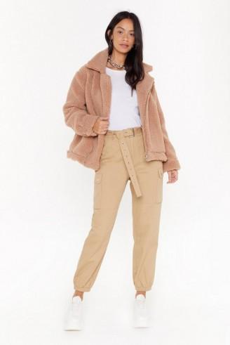 NASTY GAL As Fur Usual Aviator Faux Fur Jacket in Camel