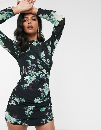 ASOS DESIGN black based floral mini dress with long sleeve and ruched detail / open back dresses