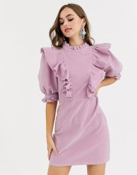 ASOS DESIGN cord mini dress with high neck and puff sleeve frill detail in lilac
