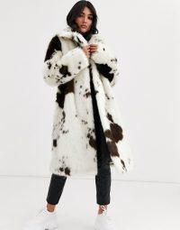 ASOS DESIGN cow print faux fur midi coat in white / monochrome winter coats