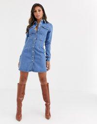 ASOS DESIGN denim structured shirt dress in blue