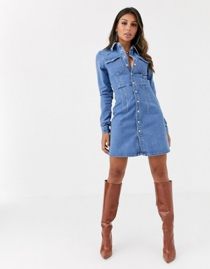 ASOS DESIGN denim structured shirt dress in blue - flipped