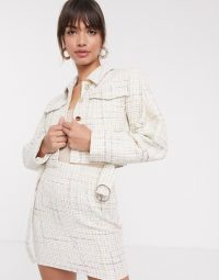 ASOS DESIGN exaggerated sleeve boucle suit in ivory – light coloured skirt suits