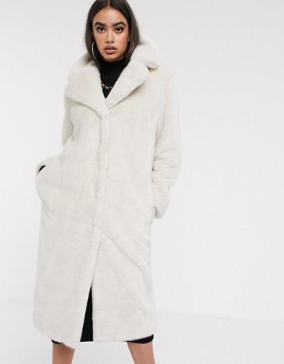 ASOS DESIGN luxe faux fur longline maxi coat in mink / luxurious winter look