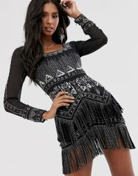 ASOS DESIGN mini dress with silver embellishment and studded fringe – fringed evening dresses