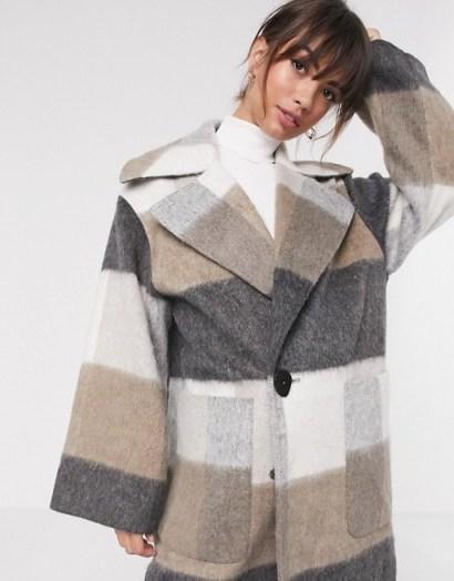 ASOS DESIGN oversized brushed maxi coat in check / longline winter coats - flipped