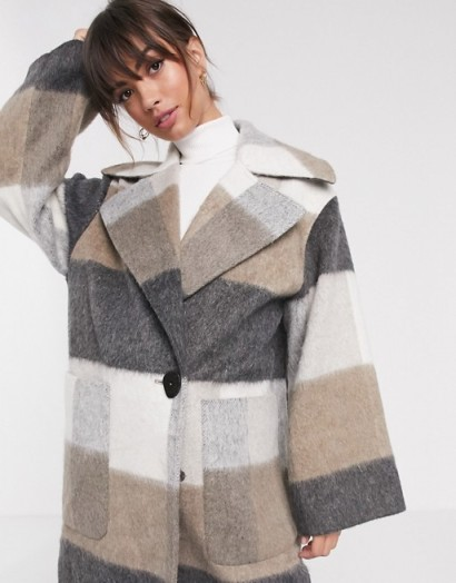 ASOS DESIGN oversized brushed maxi coat in check / longline winter coats