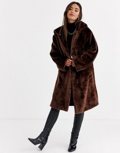 ASOS DESIGN plush faux fur hooded coat in brown | luxe style winter coats