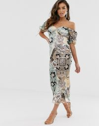 ASOS DESIGN sweetheart midi tea dress in paisley print / bardot dresses