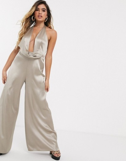 ASOS DESIGN ultra plunge jumpsuit with drape satin detail in mink