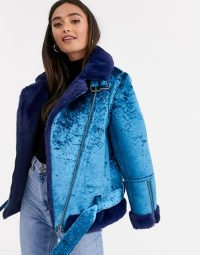 ASOS DESIGN velvet biker jacket in blue – faux fur lined jackets for Autumn
