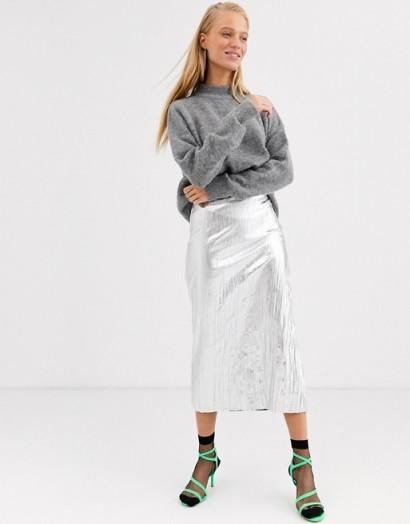ASOS WHITE silver crinkle slip skirt   slim fit metallic skirts