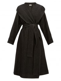 THE ROW Audree black cashmere-herringbone coat – longline hooded winter coats
