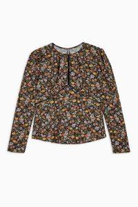 TOPSHOP AUSTIN Floral Print Long Sleeve Tea Top
