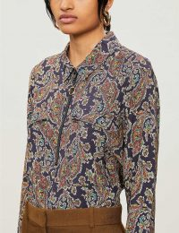 BA&SH Pietro paisley-print crepe shirt in noir / black printed zip front shirts