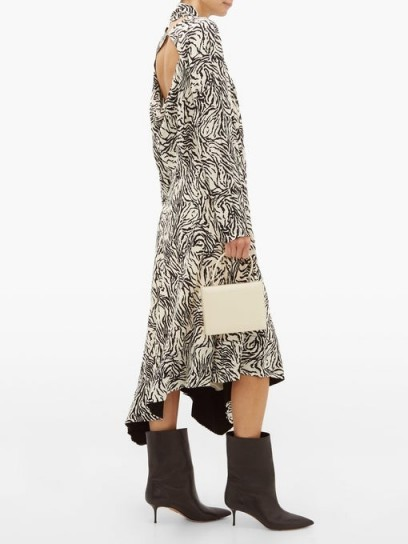 PROENZA SCHOULER Backless zebra-print crepe midi dress ~ cut-out back dresses